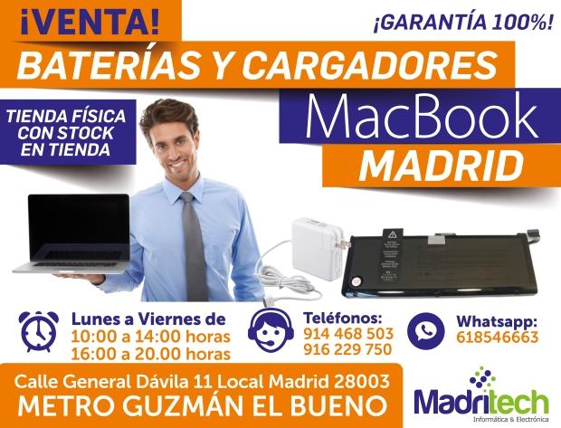 venta cargadores y baterias MACBOOK madrid