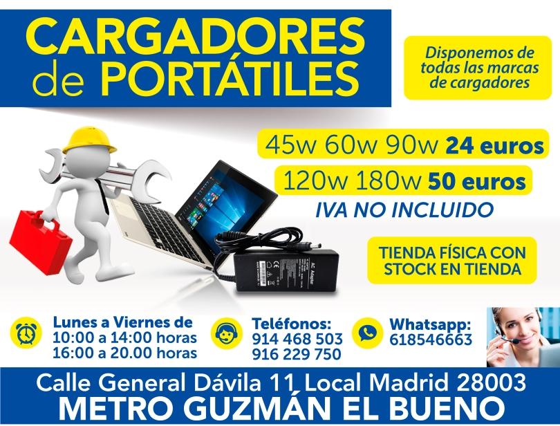 916 229 750 cargadores nuevos para portatiles en todas las marcas