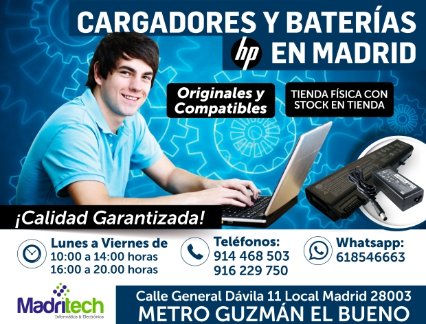 cargadores y baterias HP  en madrid