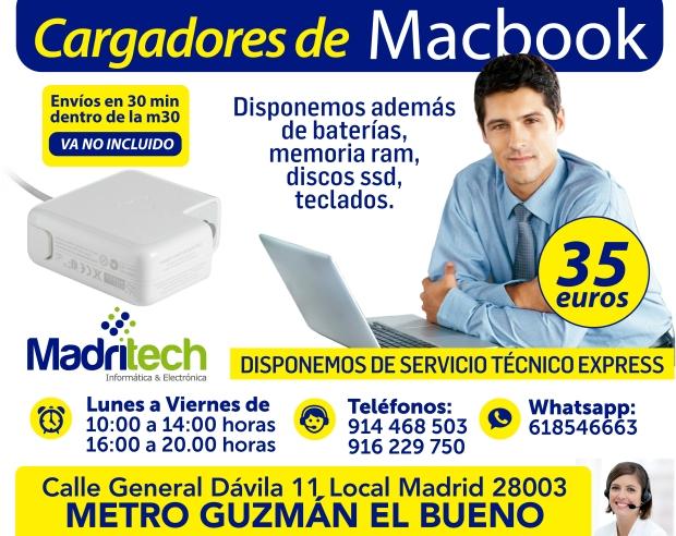 venta cargadores macbook en madrid